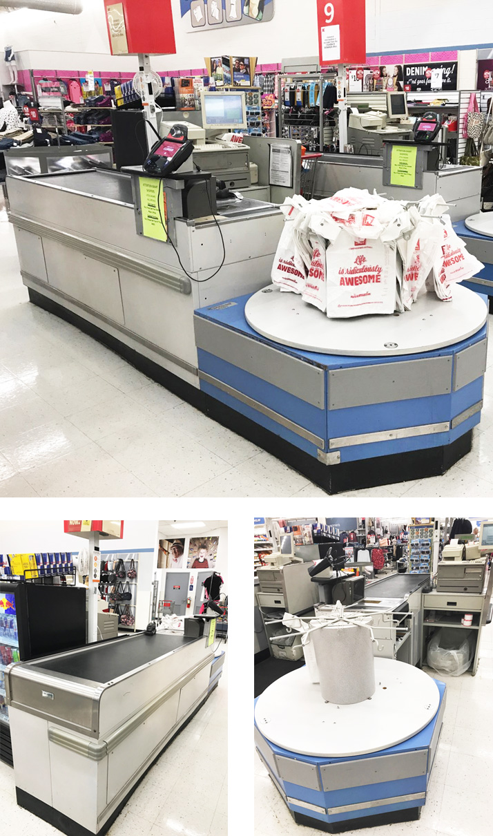 Used Checkout Counter with Belt & Carousel  - UCCBC