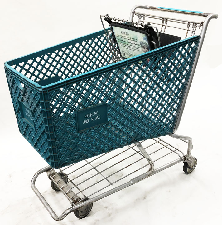 Used Plastic Shopping Cart in Teal - USCRICHTL
