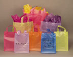 Frosted Color Shopping Bags - 8in.H x 4in.D x 11in.W
