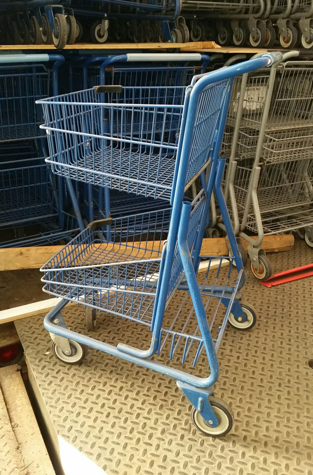 Used Blue 2 Level Shopping Cart