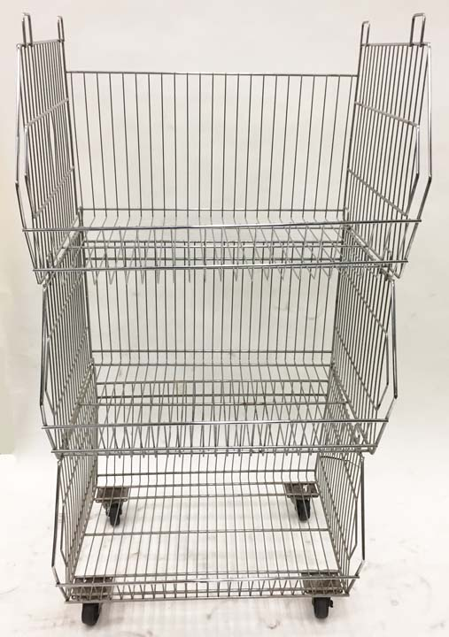 Used 3-Tier Stacking Basket on Wheels - USB3