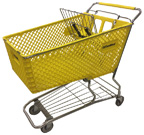 Used Plastic Shopping Cart in Yellow - USCOMX